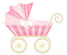 Pink Vintage Baby Pram Carriage Vector