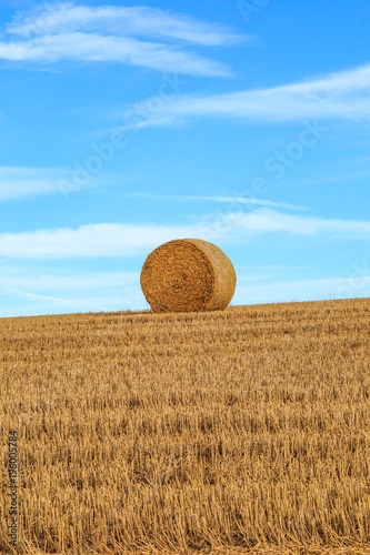 Foto op Aluminium Blauw A Hay Bale in the Sussex Countryside