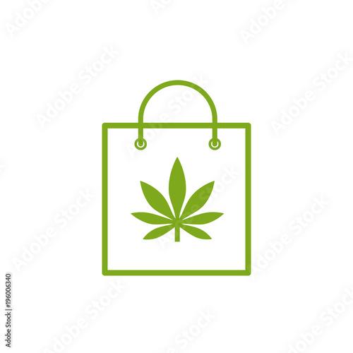 Shopping Bag Of Medicinal Cannabis Bag With Marijuana Icon Medical