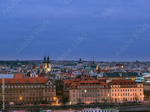 Aluminium Prints Prague Scenic view of Historical center of Prague during blue hour after sunset, buildings and landmarks of old Prague town,Czech Republic.