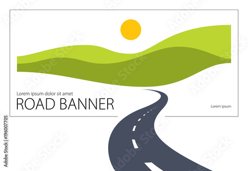 Fototapeta Country road curved highway vector perfect design illustration. The way to nature, hills and fields camping and travel theme. Can be used as a road banner or billboard with copy space for text. obraz