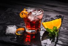 Mezcal Negroni Cocktail. Smoky...