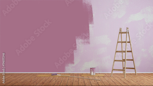 Wand streichen mit lila Wandfarbe - Buy this stock illustration and ...