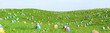 canvas print picture - Bunte Ostereier zu Ostern im Gras einer Wiese
