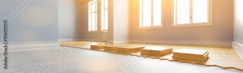 Obraz Parkett verlegen in Altbauwohnung als Panorama - fototapety do salonu