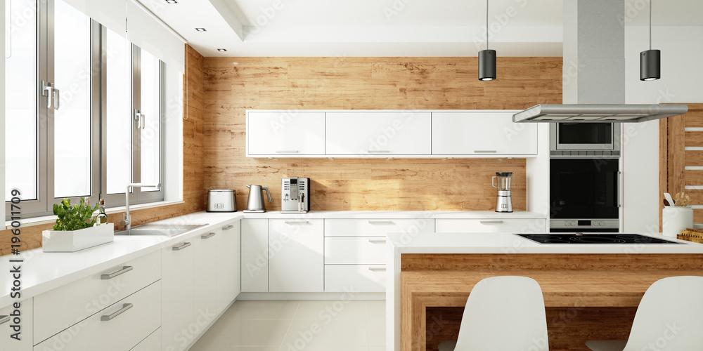 Fototapeta Offene helle Küche als Wohnküche