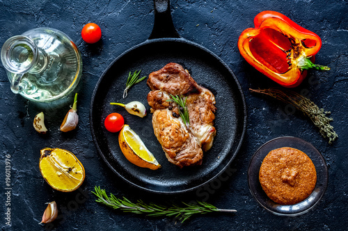 In de dag Grill / Barbecue concept cooked steak on dark background top view