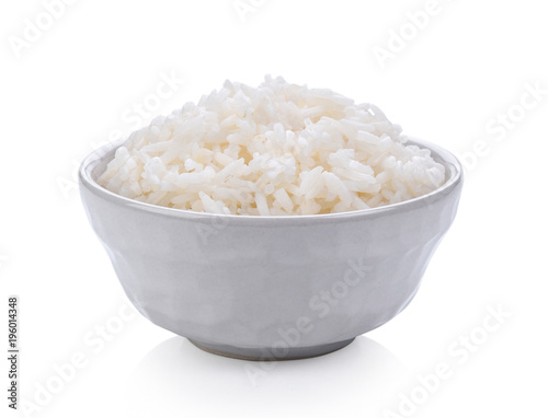 jasmine Rice in a bowl on white background