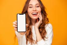 Pleased Brunette Woman In Sweater Showing Blank Smartphone Screen