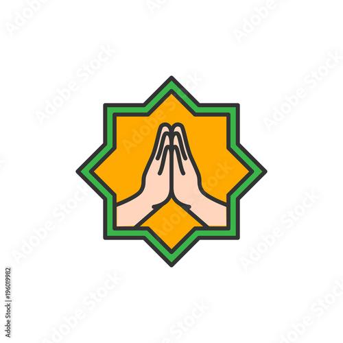 Fotografía  Islam Forgive hand symbol