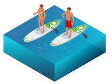 Isometric Paddleboard Beach Me...