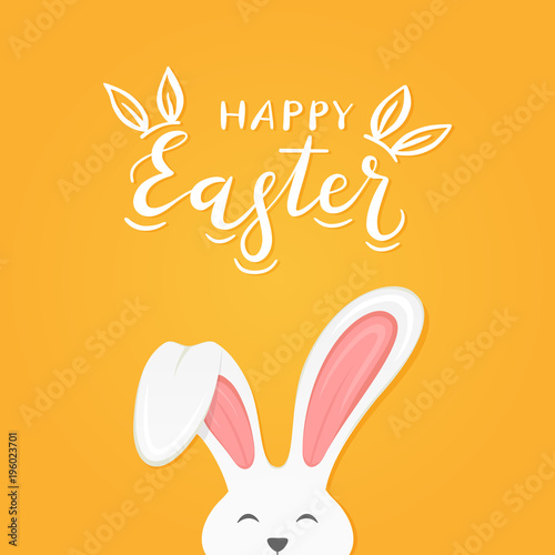 Foto  Orange background with text Happy Easter and rabbit ears