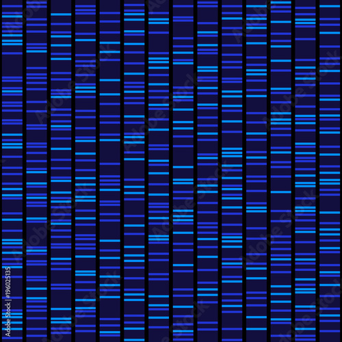 Valokuva  Blue Dna Sequence Results on Black Seamless Background. Vector