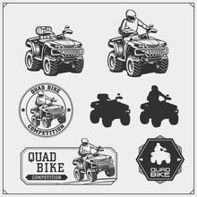 Set Of Quad Bike Competition Emblems, Labels And Design Elements.