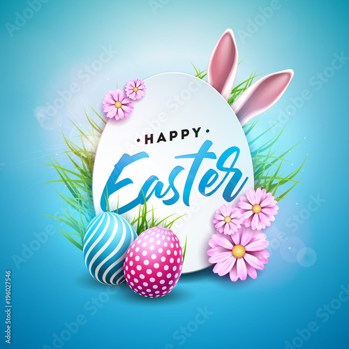 vector illustration of happy easter holiday with painted