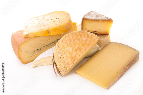 Printed kitchen splashbacks Dairy products various of cheese isolated on white background