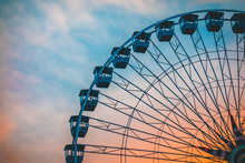Detailed View Of Ferris Wheel On Colorful Background