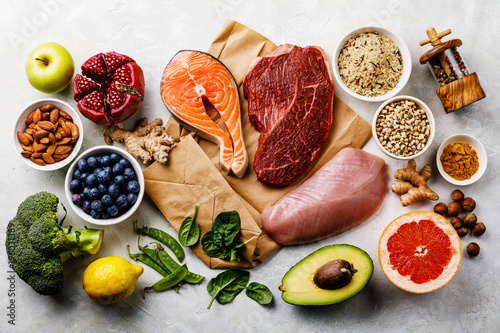 Poster Cuisine Balanced diet Organic Healthy food Clean eating selection Including Certain Protein Prevents Cancer: fish, meat, fruit, vegetable, cereal, leaf vegetable