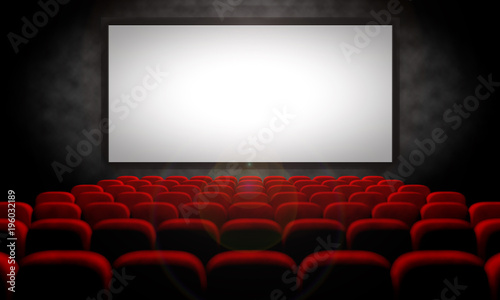 Fotomural  white screen and red seats in empty movie theater