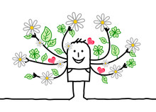Cartoon Spring Man With Flower...