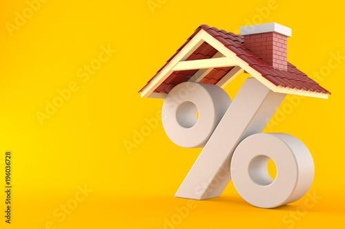 Fotografía  Percent symbol with house roof