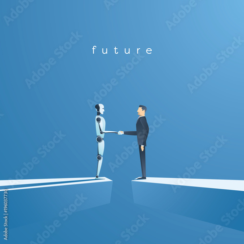 Obraz Ai or artificial intelligence vector concept with ai robot handshake with human. Symbol of future cooperation, technology advance, innovation. - fototapety do salonu
