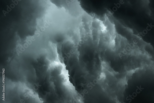 Fototapety, obrazy: Dark clouds and thunderstorm with rainy, Dramatic  black clouds in summer