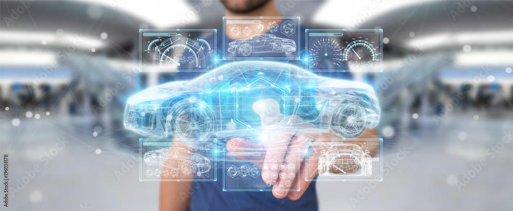 Fototapeta Businessman using modern smart car interface 3D rendering