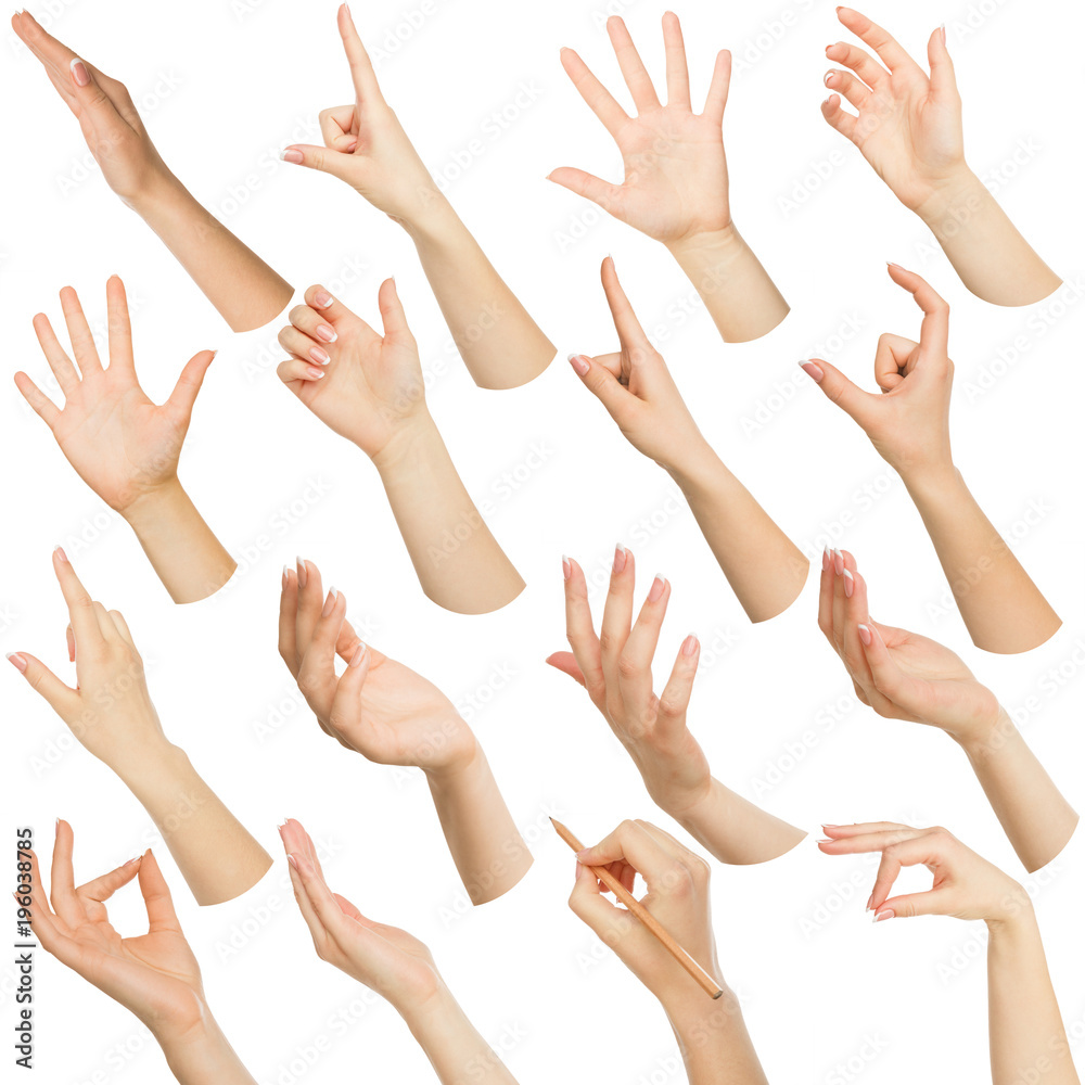 Fototapety, obrazy: Set of white female hands showing symbols