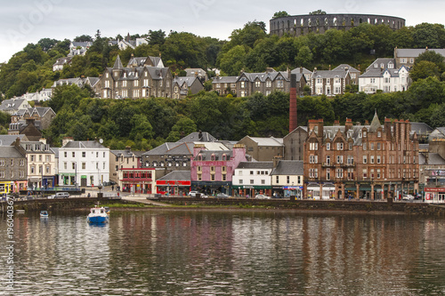 Oban, Scotland / United Kingdom - Jul 09 2017: view of town and harbour Canvas Print