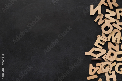 Photo  Wooden english letters background