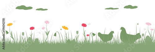 Ingelijste posters Bloemenwinkel Happy Easter. Field with chicken, Easter eggs, butterfly and flowers.