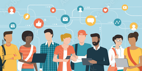 Young people social networking and connecting together online