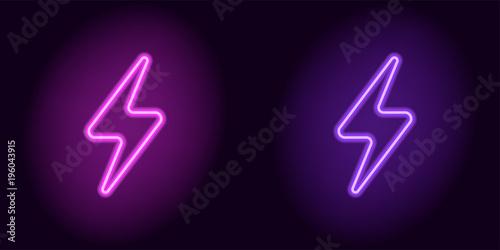 Obraz Purple and violet neon electric sign - fototapety do salonu