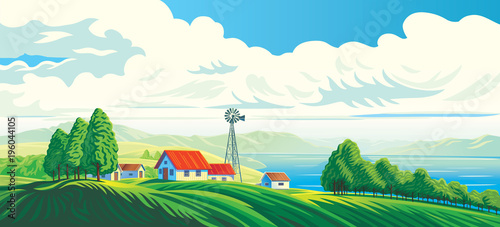 Fotobehang Wit Rural landscape with hous, and beautiful view of distant lake or sea. Vector illustration.