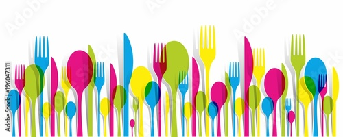 Fotografiet Creative Multicolored Cutlery Icons Set Background vector illustration