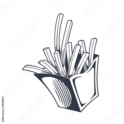Fotomural Vector vintage illustration of french fries in paper box