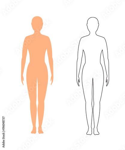 Obraz female silhouette (contour) on white background, vector. - fototapety do salonu