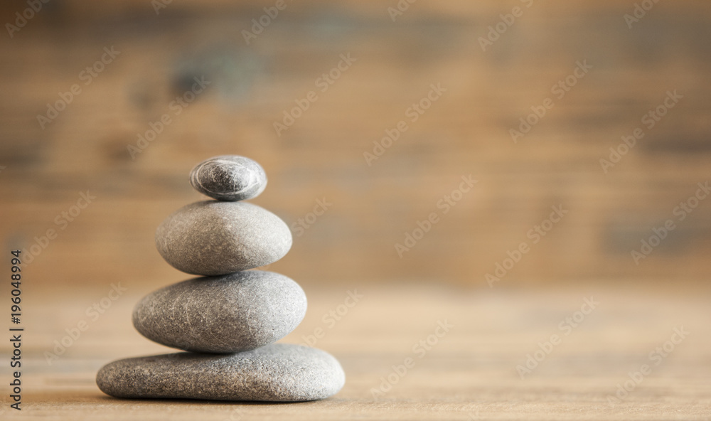 Fototapeta A stack of four zen rocks