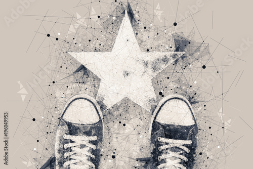 Fotografia  Young person on the road with star shape imprint