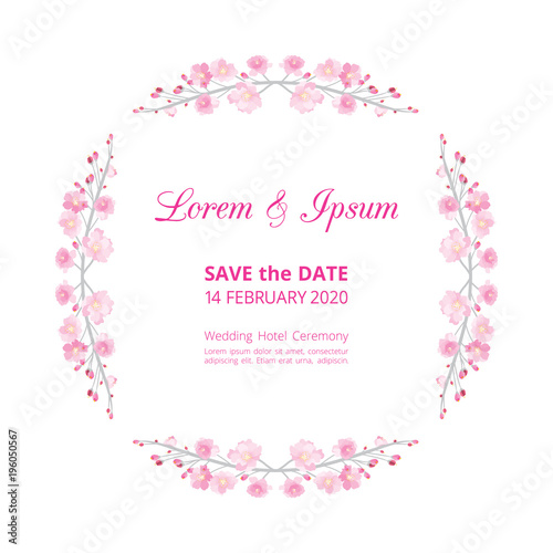 Full bloom pink sakura flower wedding card template circle, Cherry ...