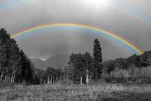 Full Rainbow Above Black And White Landscape In Colorado