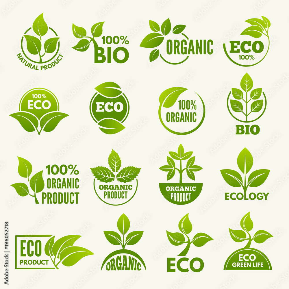Fototapety, obrazy: Logos of eco style. Business concepts to protect nature