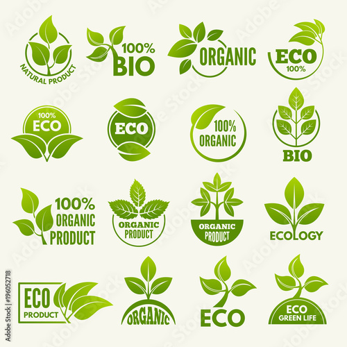 Valokuvatapetti Logos of eco style. Business concepts to protect nature