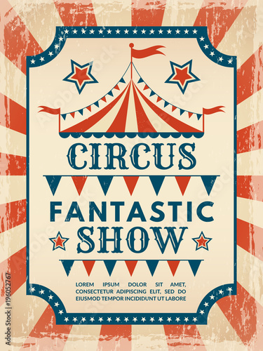Fototapeta Retro poster. Invitation for circus magic show