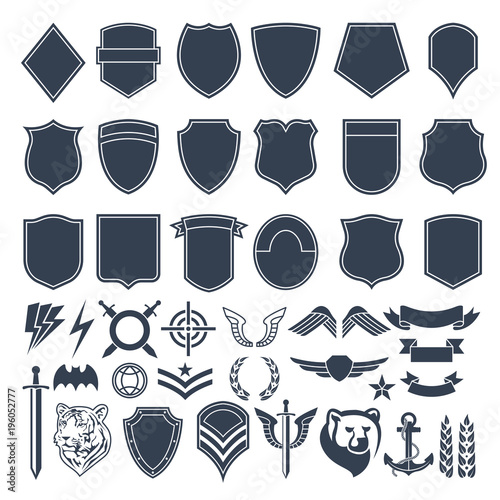Photo Set of empty shapes for military badges. Army monochrome symbols