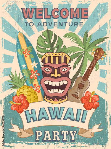 Design template of retro poster invitation for hawaiian party