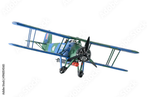 Blue plastic biplane isolated on the white background Wallpaper Mural