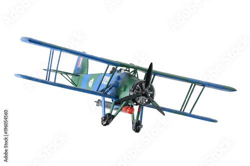 Photo Blue plastic biplane isolated on the white background