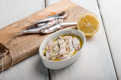 marinated anchovies with olive oil and lemon Canvas Print